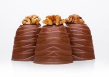 Caramella elegante di lusso del cioccolato al latte con la noce Fotografie Stock Libere da Diritti