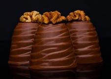 Caramella elegante di lusso del cioccolato al latte con la noce Immagine Stock