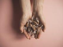 Caramelle del caramello in due mani Fotografia Stock
