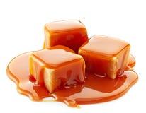 Caramelle del caramello e salsa del caramello Fotografia Stock Libera da Diritti