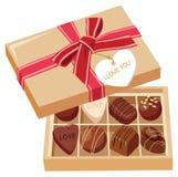 Caramelle di cioccolato in casella Fotografie Stock