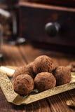 Caramelle di cioccolato del tartufo con cacao in polvere Fotografia Stock Libera da Diritti