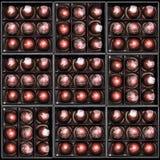 Caramelle di cioccolato nei giftboxes Confetteria assortita del cioccolato in loro contenitori di regalo Insieme dei bonbon vario Immagine Stock Libera da Diritti