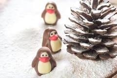 Caramelle di cioccolato sotto forma dei pinguini Fotografia Stock