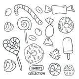 Caramelle disegnate a mano rassodate, ciambella, lecca-lecca, caramella royalty illustrazione gratis