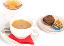Caramelle e cognac del caffè Fotografia Stock