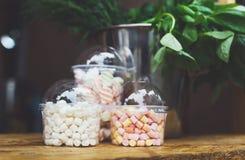 Caramelle gommosa e molle in barattoli di vetro sulla barra da vendere Fotografia Stock