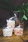 Caramelle gommosa e molle in barattoli di vetro sulla barra da vendere Immagini Stock