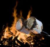 Caramelle gommosa e molle cucinate vicino ad un fuoco di accampamento immagine stock