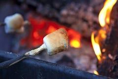 Caramelle gommosa e molle di torrefazione sopra fuoco di accampamento Immagine Stock Libera da Diritti