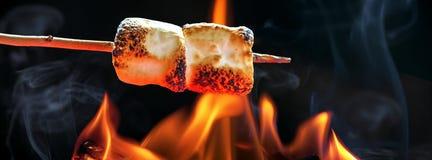 Caramelle gommosa e molle di torrefazione sopra l'insegna di orizzontale del fuoco di accampamento Fotografia Stock