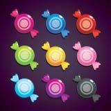 Caramelle rotonde nei colori differenti, insieme di vettore Beni per progettazione del gioco Immagine Stock