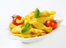 Caramelle shaped stuffed pasta Stock Photos