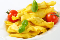 Caramelle shaped stuffed pasta Stock Images