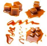 Caramello con salsa Caramelli dorati della caramella della caramella della caramella al burro S Fotografie Stock