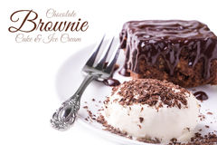 Caramelo Brownie Cake With Ice Cream Fotografia de Stock Royalty Free