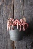 Caramelo Cane Bucket Hanging en la pared de madera Imagen de archivo