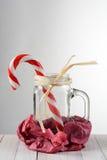 Caramelo Cane Mason Jar Still Life Fotos de archivo libres de regalías