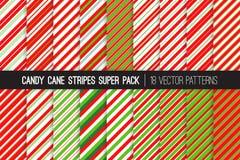 Caramelo Cane Stripes Vector Patterns en rojo, blanco y verde lima Fotos de archivo