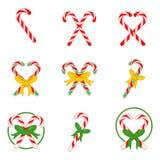 Caramelo Cane Vector Illustration Set de la Navidad Imágenes de archivo libres de regalías