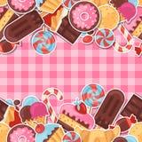 Caramelo colorido de la etiqueta engomada del modelo inconsútil, dulces Foto de archivo libre de regalías