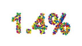 Caramelo colorido dispuesto en la forma de 1 El 4 por ciento Imagenes de archivo