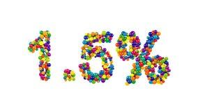 Caramelo colorido dispuesto en la forma de 1 El 5 por ciento Imagen de archivo libre de regalías