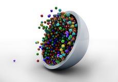 Caramelo colorido que cae en la placa de cristal stock de ilustración