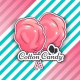 Caramelo de algodón Logo Emblem para sus productos, ejemplo del vector de hecho a mano Símbolo de una nube del azúcar Imagen de archivo libre de regalías