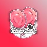 Caramelo de algodón Logo Emblem para sus productos, ejemplo del vector de hecho a mano Símbolo de una nube del azúcar Imagen de archivo