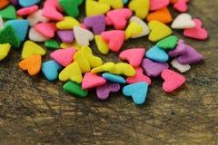 Caramelo de az?car bajo la forma de corazones Imagen de archivo