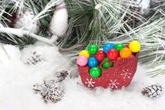 Caramelo de la Navidad en trineo Fotografía de archivo libre de regalías