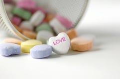 Caramelo de las tarjetas del día de San Valentín Fotos de archivo libres de regalías