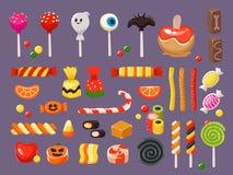 Caramelo de Víspera de Todos los Santos Caramelos dulces, piruleta asustadiza del palo y sistema del ejemplo del vector del caram stock de ilustración