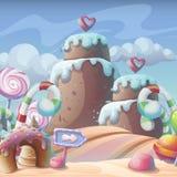 caramelo del Pan de jengibre-caramelo bajo composición del cielo nublado libre illustration