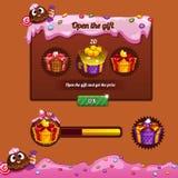 Caramelo del tema del diseño de juego del interfaz Imagen de archivo libre de regalías
