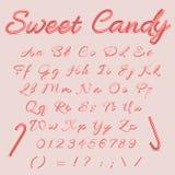 Caramelo dulce Caramelo Cane Alphabet Letras rayadas del alfabeto de la Navidad Dé el alfabeto escrito de A al ejemplo del vector Imagenes de archivo