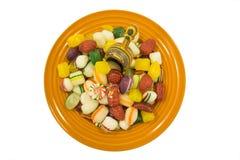 Caramelo duro y cucharada coloridos Imagen de archivo