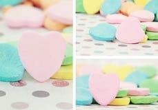 Caramelo en forma de corazón del día de tarjeta del día de San Valentín Foto de archivo