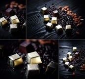 Caramelo en hoja, almendras y semillas de girasol de oro en el chocolate que miente en un fondo oscuro Collage del estudio Foto de archivo libre de regalías