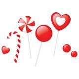 Caramelo rojo y rayado stock de ilustración