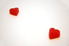 Caramelo separado del día de tarjetas del día de San Valentín de los corazones Fotografía de archivo libre de regalías
