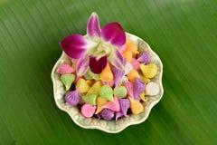 Caramelo tailandés colorido Aalaw del postre Fotografía de archivo libre de regalías