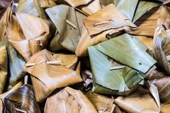 Caramelo tailandês no close-up da folha da banana Imagem de Stock Royalty Free