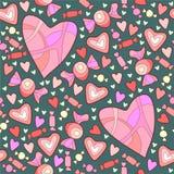 Caramelo y corazones dulces Fotos de archivo