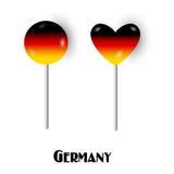 Caramelos alemanes del lollypop de la piruleta de la bandera Fotos de archivo libres de regalías