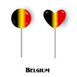 Caramelos belgas del lollypop de la piruleta de la bandera Fotografía de archivo libre de regalías