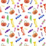 Caramelos brillantes pintados a mano de la bruja del modelo de Halloween y calabaza fantasmagórica ilustración del vector