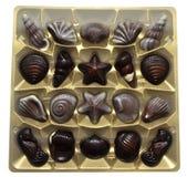 Caramelos de chocolate clasificados en rectángulo Foto de archivo
