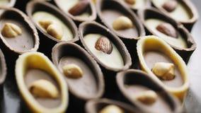 Caramelos de chocolate clasificados que giran el primer almacen de metraje de vídeo